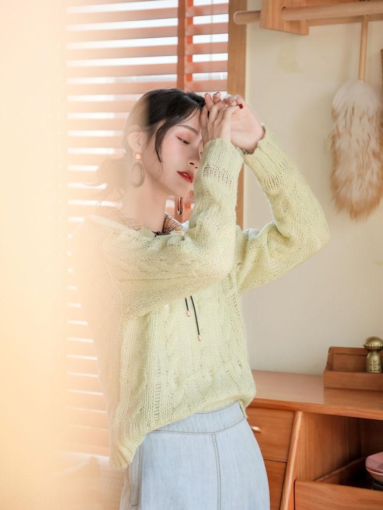 top pullover Ypfiu shell longo colar de pérolas pulôver branco camisa branca camisa V-neck-de-rosa de primavera manga e outono das mulheres