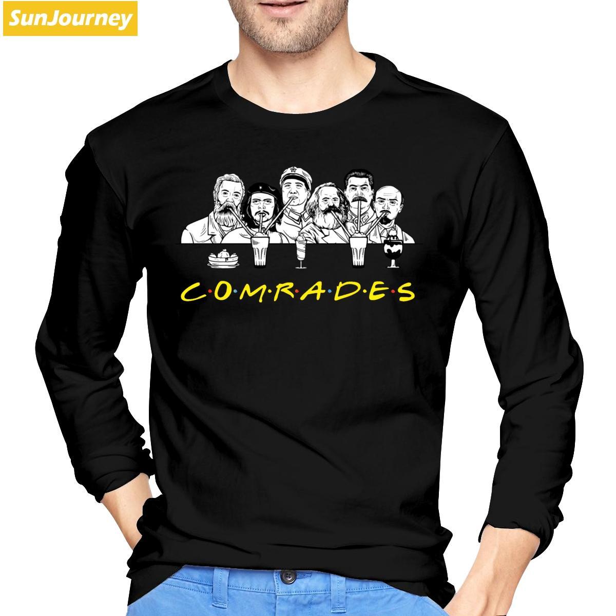 Komünist Arkadaş Yoldaşlar Marks Engels Lenin Stalin Tişörtlü Pamuk Crewneck Uzun Kollu T Shirt Erkekler