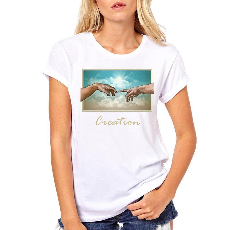 TEEHUB Hot Sales Lustige Creation Hände Frauen T-Shirt Mode Ästhetische Hand gedruckte T Shirts Kurzarm T-Shirts Hipster Tops