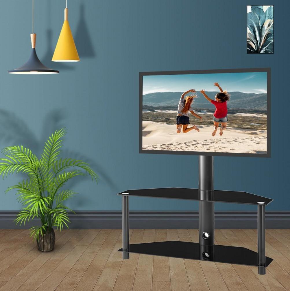 Altezza e l'angolo regolabile Multi-Function vetro temperato telaio in metallo Pavimento Porta TV LCD Staffa TV Plasma Staffa W24104948