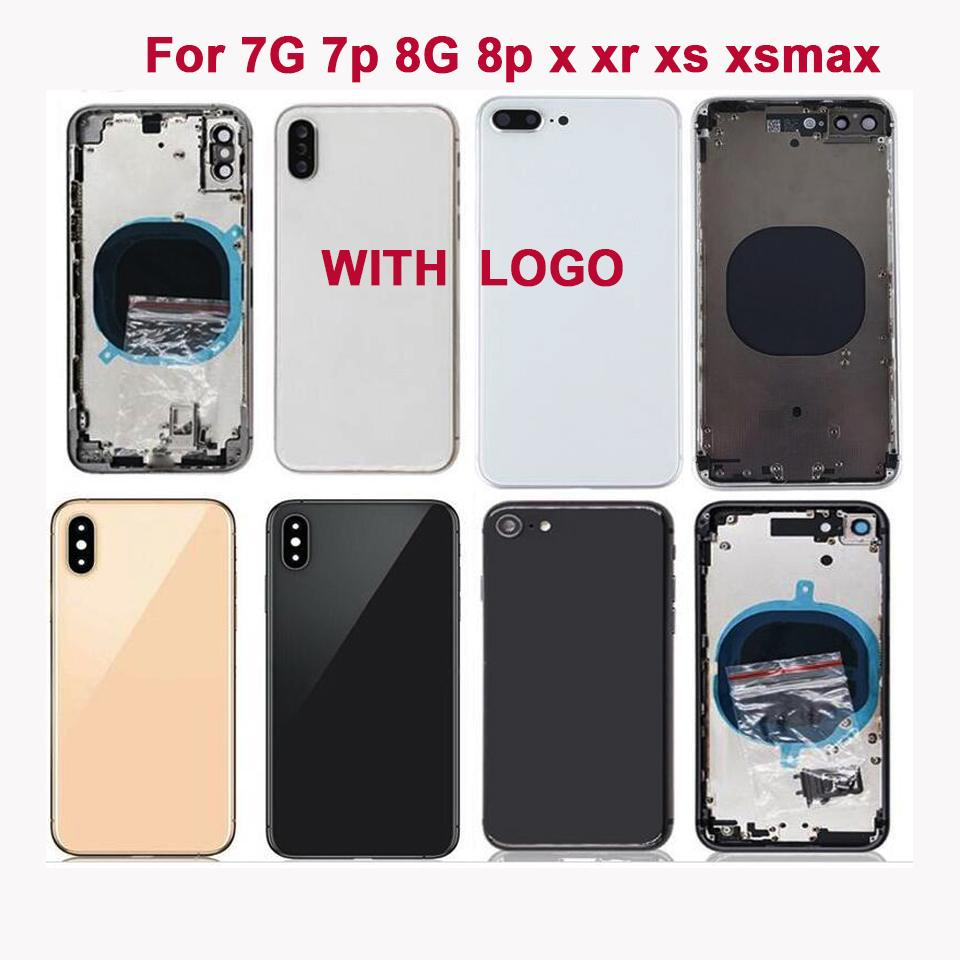 High quality Back Middle Frame Chassis Full Housing Assembly For iphone 7 7 plus 8Plus X XR XS XSMAX Back Cover with SIM