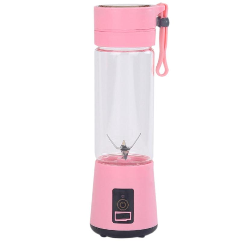 420ml портативной Соковыжималки стеклянной бутылкой Соковыжималка USB аккумуляторной 6 Лезвие Smoothie Blender Миксер Mini Juice Cup Pink