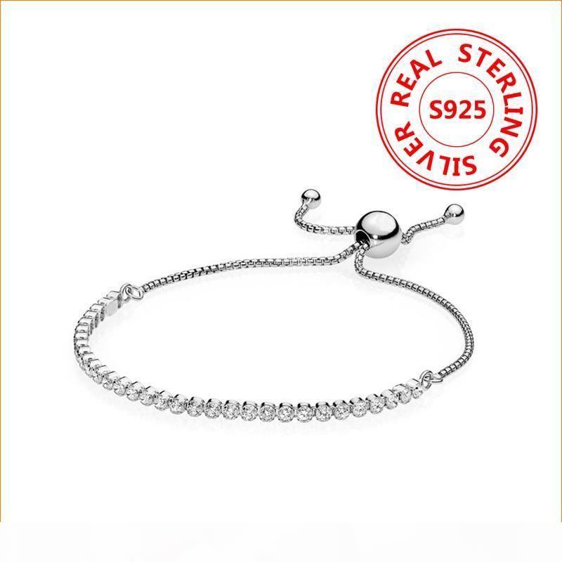 tamanho ajustável Brilhante Pulseira de cristal 925 Sterling Silver CZ diamante jóias caber estilo Pandora Pulseira de casamento presente para as mulheres