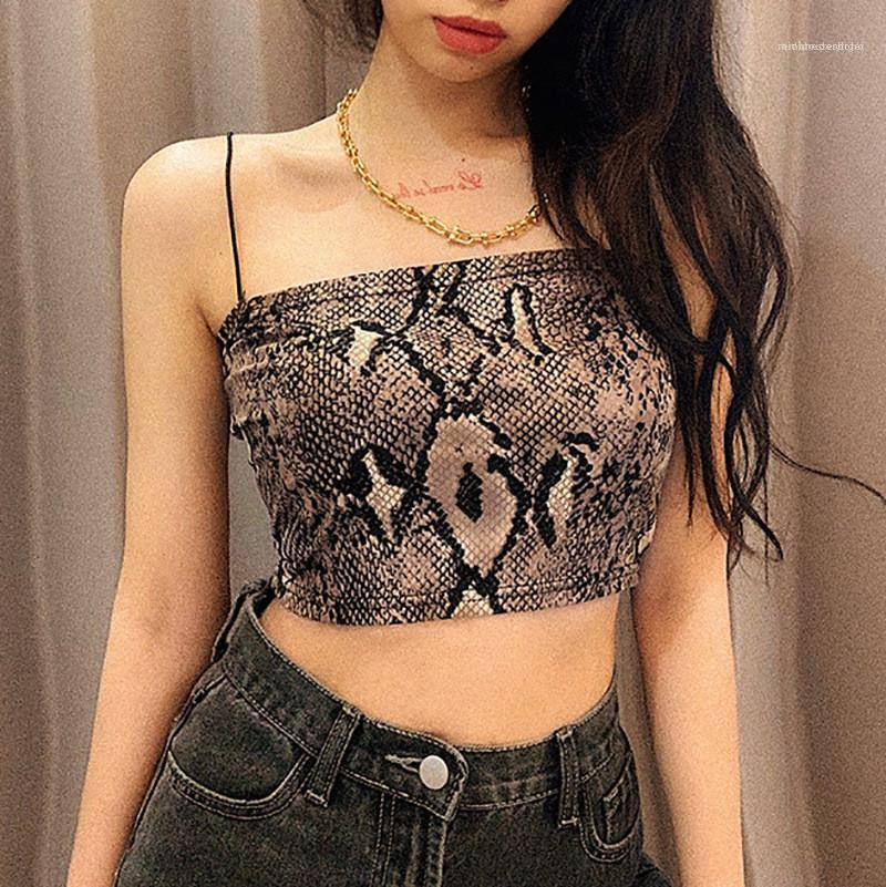 Crop Tops Casual Slim Natural Color Camis Women Clothing Women Designer Snakeskin Camis Fashion Print Strapless