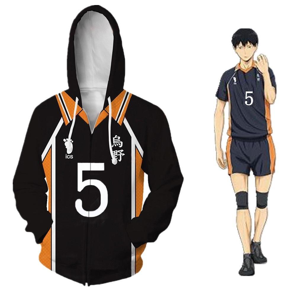 Unisex Cadılar Bayramı Japonya Anime Haikyuu NO.5 Tanaka Ryunosuke Cosplay Kostüm Beyzbol Coat Casual Ceket Cadılar Bayramı Hoodie