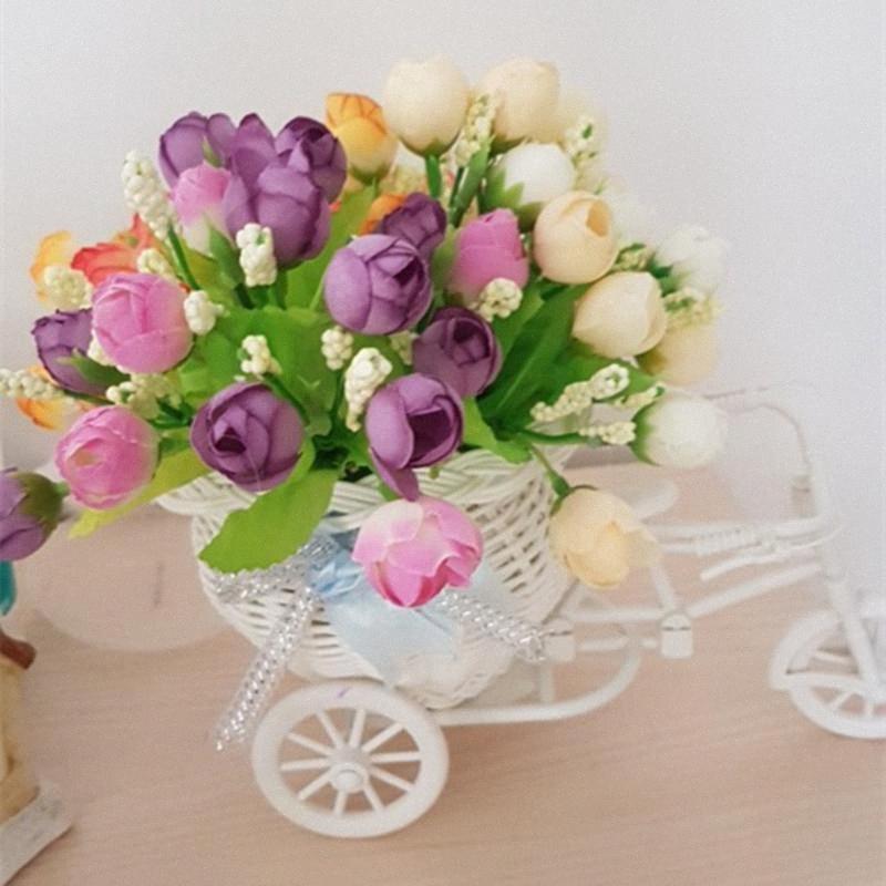 15 capi Little Rose falso seta rosa fiori Bouquet Decorazione Fiori Per la casa di nozze Favorsf Decori spedizione gratuita TJLx #