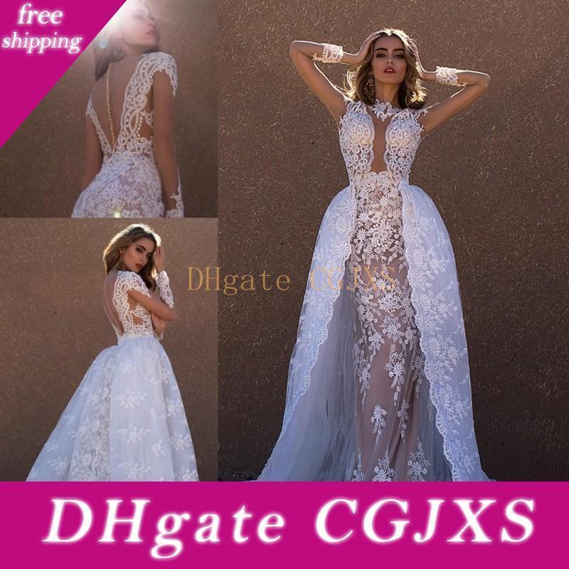 2017 overskirts Brautkleider hohe Ansatz Bloße lange Ärmel SpitzeAppliques elegante durchschauen Zurück Brautkleider mit abnehmbarer Schleppe