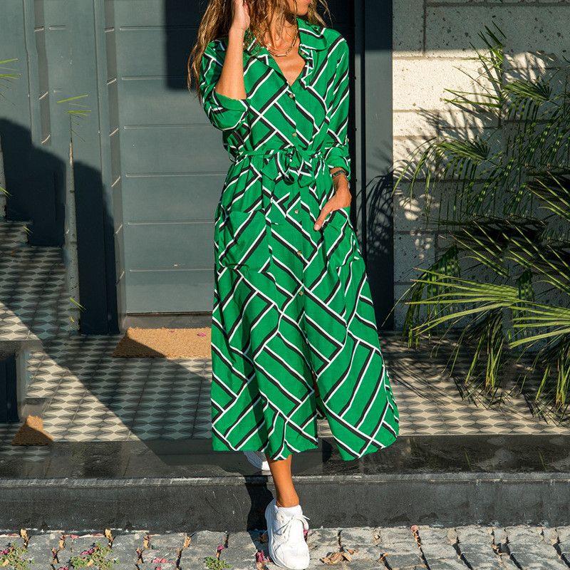 New Arrivals Womens Summer Dress Print Pocket Long Sleeve Shirt Dresses Fashion Casual Female Clothing Multiple styles