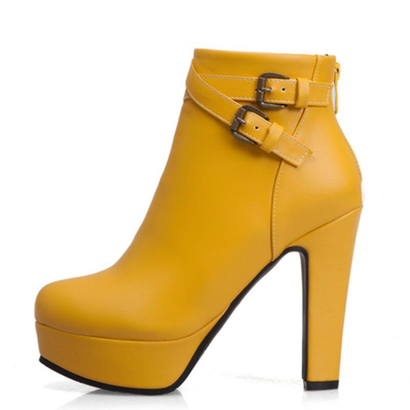 Плюс Размер 48 новых женщин сапоги Sexy Высокие каблуки платформы Ботильоны для женщин Черный Красный Желтый Белый пяток Ladies