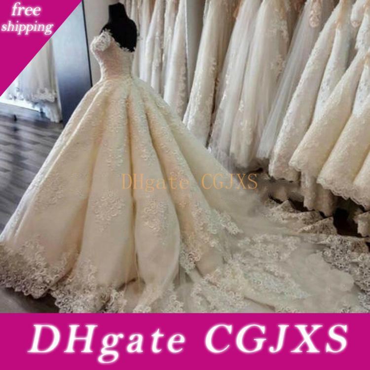 Бальное платье Lace Прополка платья Sexy плеча аппликация Свадебные платья плюс размер Puffy Backless Длина пола свадебное платье