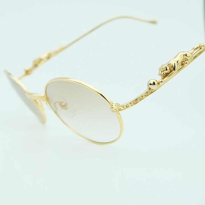 Diamantes de imitación de metal de los hombres de lujo de Oval Panthere Limited oro de las gafas para hombre Carter Gafas de sol
