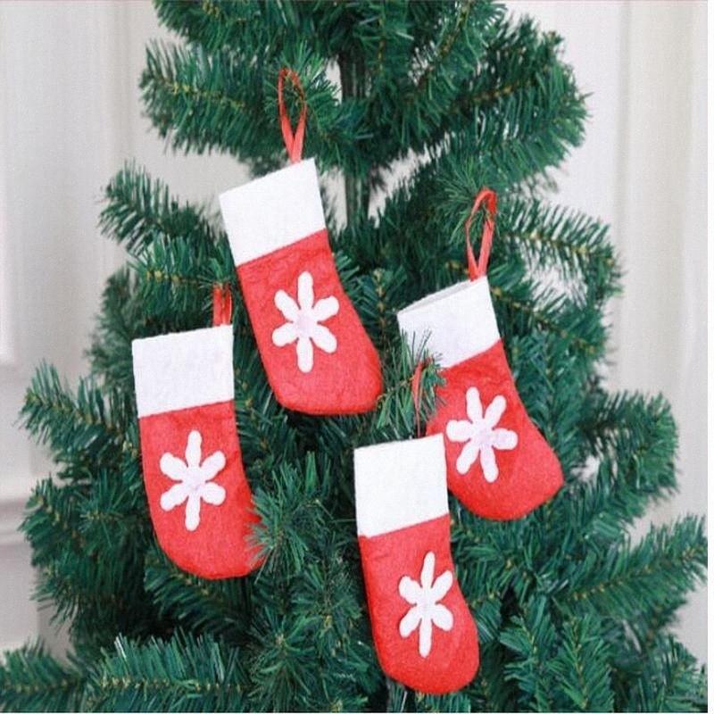 6шт / серия 3D Christmas Home Hotel украшение Mall дерево кулона украшение Нетканой Снежинка Мини нож вилок носки мешок подарок QY4t #