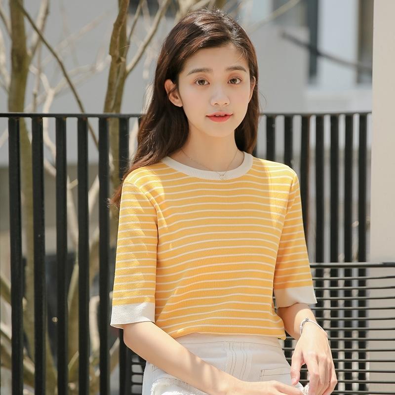 gO01B Сладкого битнику топ 2020 Летние новые корейские круглые трикотажные полосатые рубашек женщины цвет рыхлые шеи коротких рукава футболка для контраста