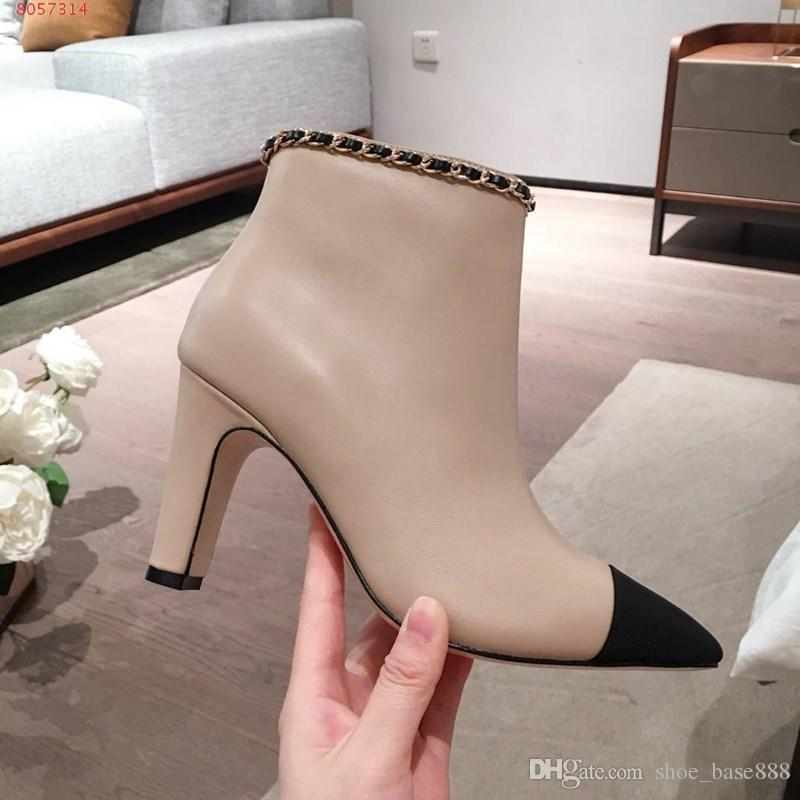 2020 100% кожа европейских и американских ботинки в стиле конструктора зимы топ металла с черными и обнаженные сшивание Дорогих женщин обувь работы сапоги