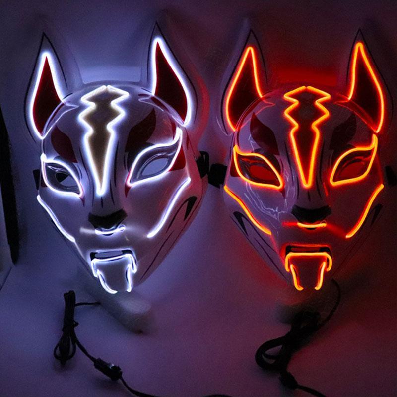 Бесплатная доставка Tianhu Luminous лица Маски Fox Halloween Party Cat Face Mask LED Карнавальная ночь маска маска для лица Показать F1103