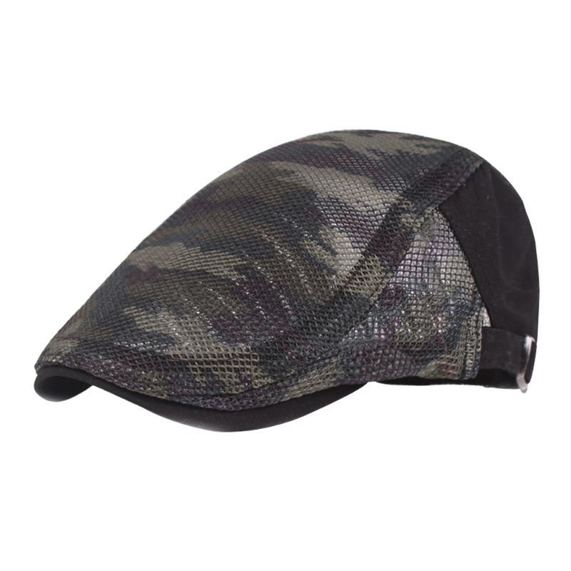 Мужчины Женщины Flat Cap Hat лето полиэстер Защита от ультрафиолетовых лучей Повседневный Mesh ткань Открытый регулируемый Камуфляж Солнцезащитный козырек дышащий