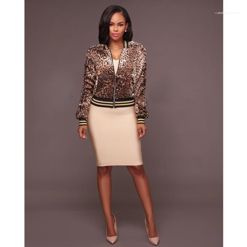 Zipper Kleidung Weibliche Fshion Partei Stickerei Oberbekleidung Frauen Designer Leopard-Druck-Jacken mit Rundhalsausschnitt Langarm