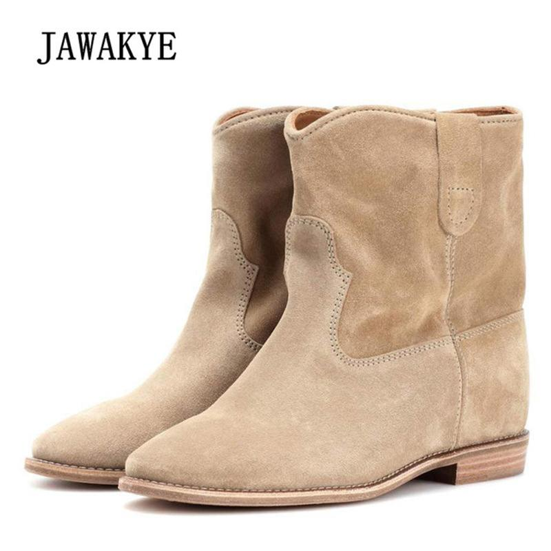 2019 Crisi Nude Suede Ankle Boots For