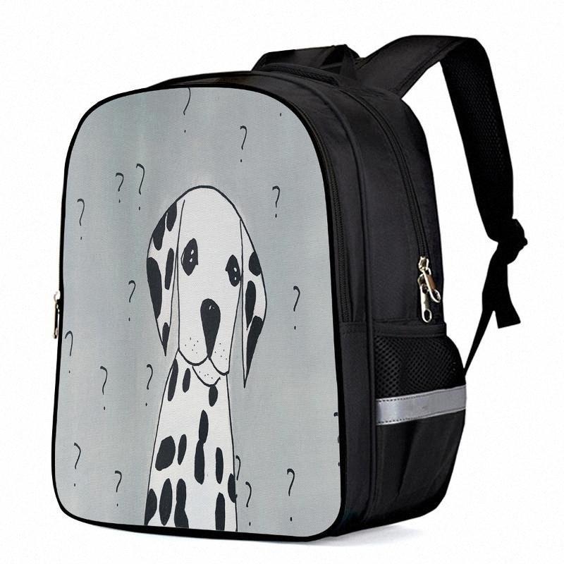 Cute Hand Drawn Dalmatian Cute Question Mark Laptop Backpacks School Bag Child Book Bag Sports Bags Bottle Side Pockets 2CKl#