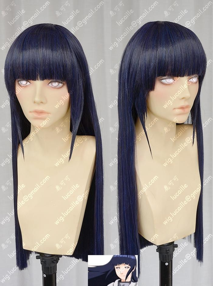 Anime NARUTO Hyuga Hinata Cosplay Wigs Long Straight Neat Bang Heat Resistant Synthetic Hair Wigs + Wig Cap