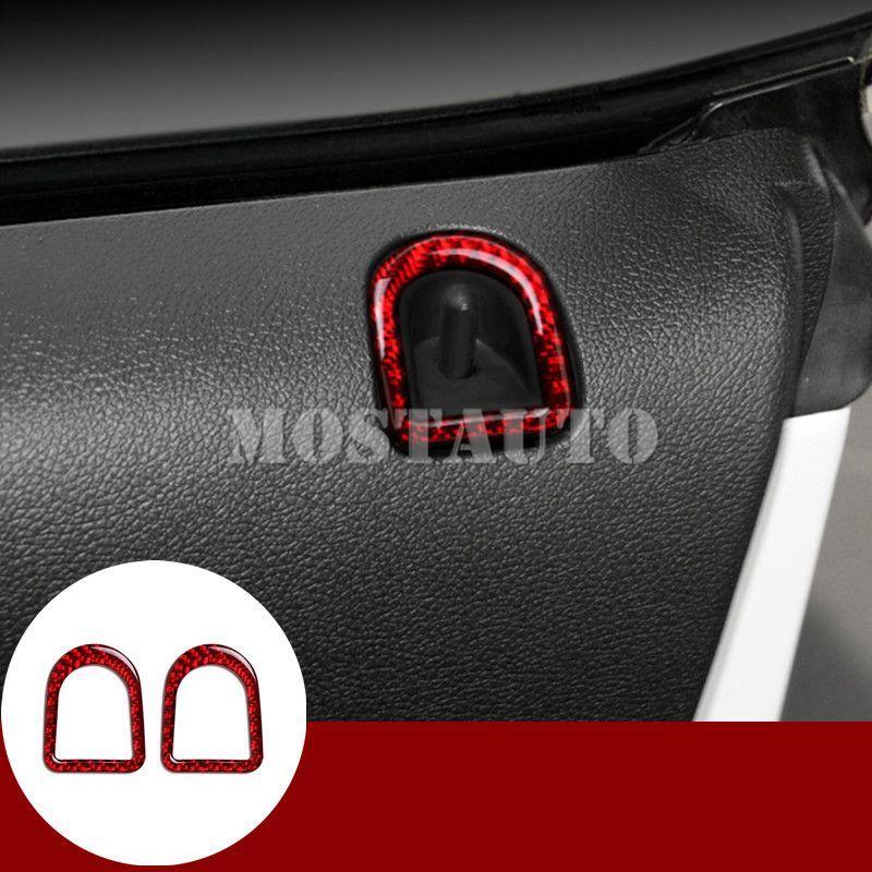 2Pcs For Ford Mustang 2009-2013 Carbon Fiber Door Lock Pins Frame Cover Trim