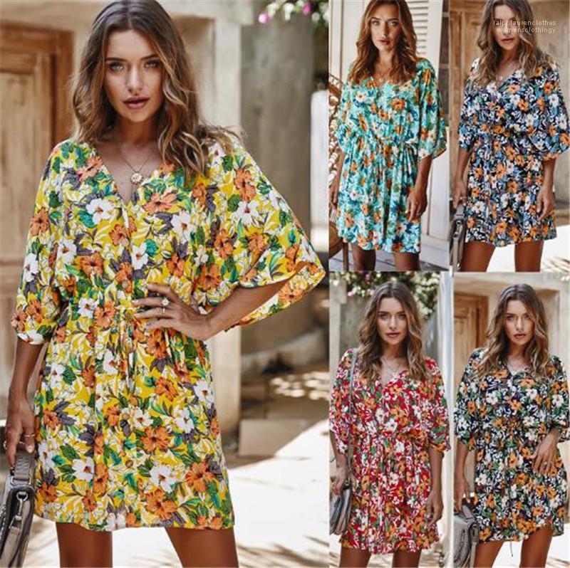 Vestidos Sexy Mulheres Verão Designer Vestidos Moda de Slim Floral Impresso V Neck Vestidos New Style Womens