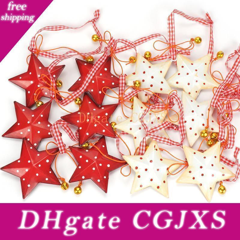 Weihnachtsdeko 12st Jahrgang Metallstern mit kleiner Glocke Weihnachtsbaum-Dekoration Frohe Weihnachten Für Privatanwender Ornament Hanging