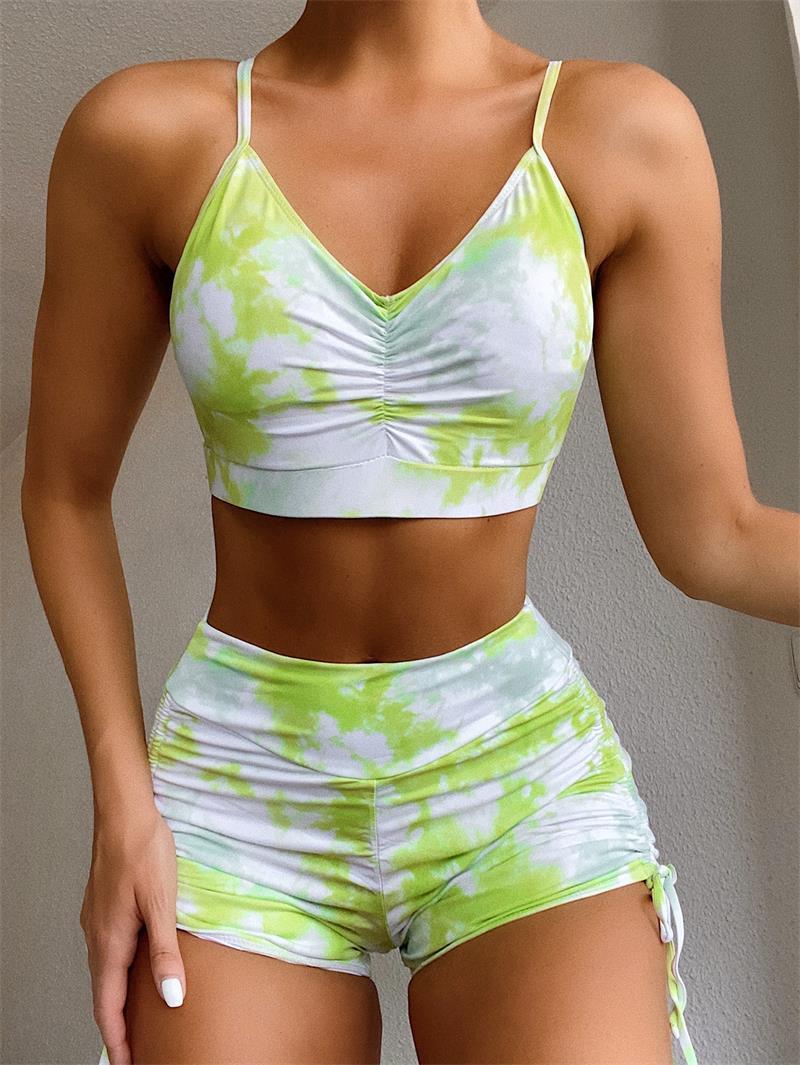 Tie-dye Women Fashion Swimsuit 2 Piece Sports Vest Bra + Shorts Swimwear Designers Tankini Sets Swimsuits Beach Swimming Bathing Suit LY8182