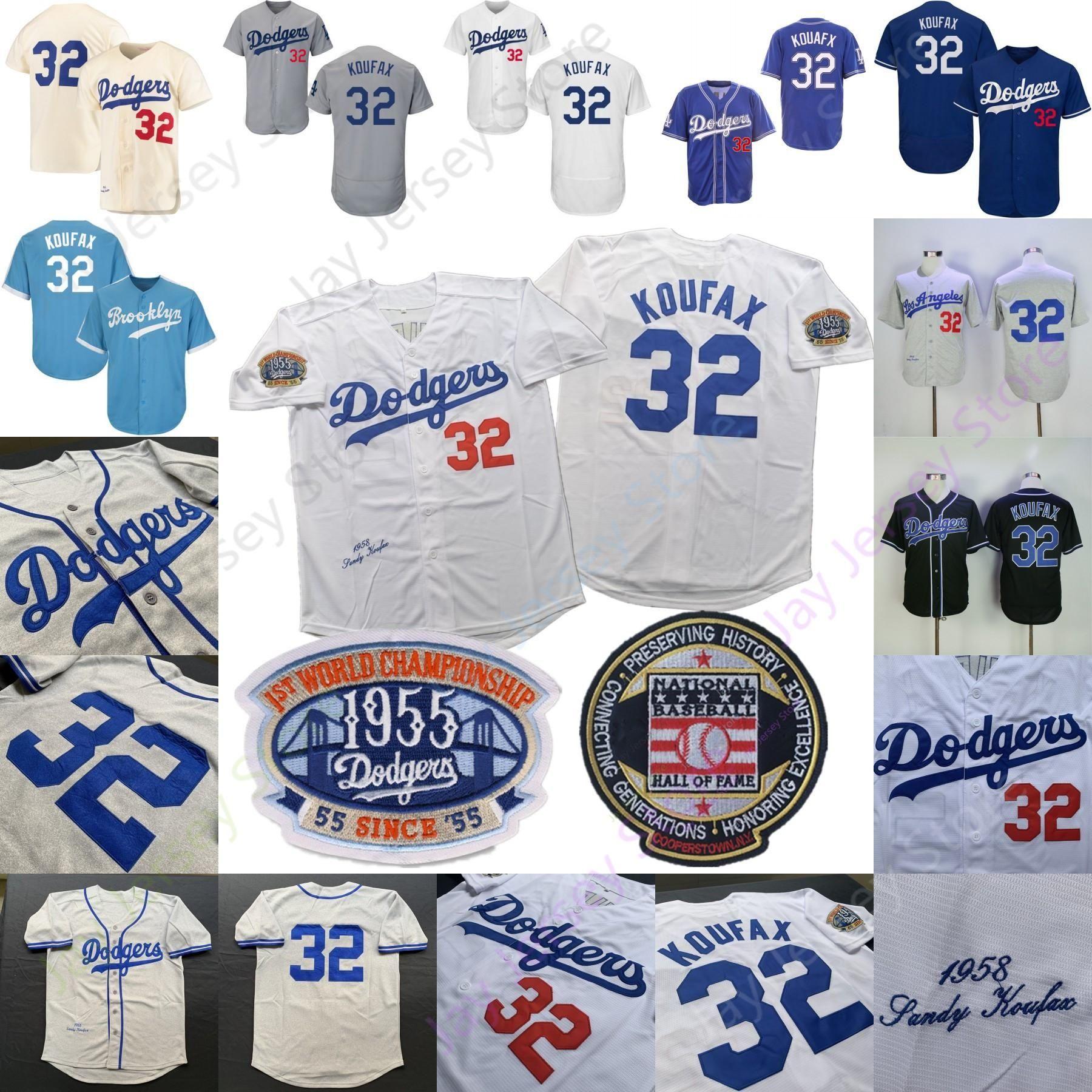 Sandy Koufax Jersey Brooklyn 1955 1958 1ª Primeira WS remendo Baseball Hall Of Fame Branco Preto Azul Cinzento Tudo costurado