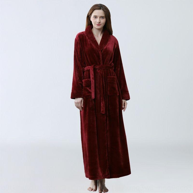 kCPXU pijama ve bornoz sonbahar ve kış pijama Bornoz Bornoz flanel uzatılmış kalınlaşmış
