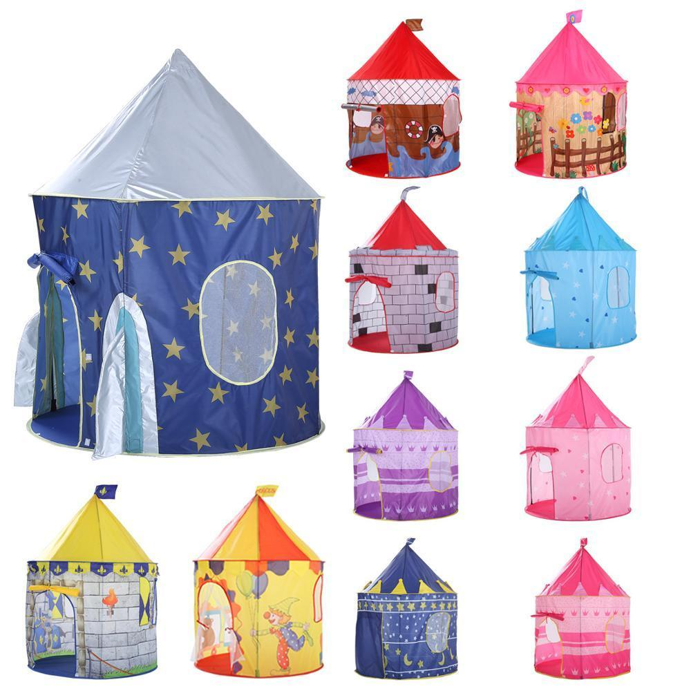 135CM Kids Play Tent Ball Pool Tent Boy Girl Princess Castle Portable Indoor Outdoor Baby Play Tents House Hut For Kids Toys LJ200923