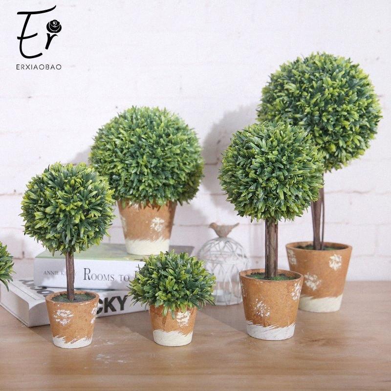 Erxiaobao árbol artificial con plantas artificiales Pot Simulación en macetas colocadas Inicio de ventanas decoración cuarto de baño Accesorios 5jn1 #
