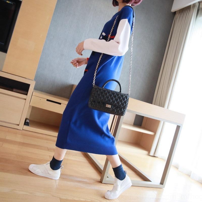 mCecn женщин ZRyMU контраст цвета утолщена длинный свитер моды одежды платье колено пассивом трикотажное платье 2019 зима новый женский ЕО
