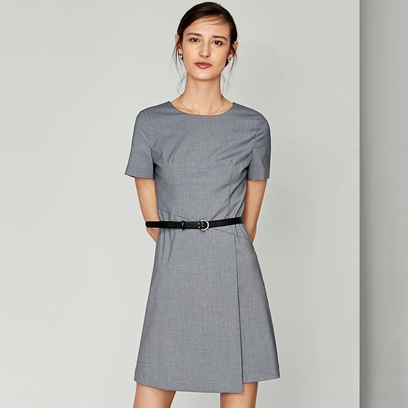 Bahar ve Yaz yeni profesyonel elbise kısa uzun gövde gövde kollu ol mizaç bölünmüş etek orta boy gidip entelektüel gri hip-c