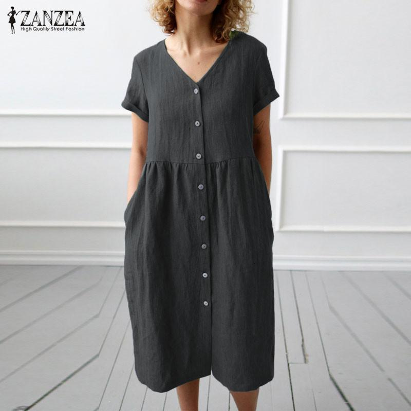 2020 ZANZEA Hemd Dr Damen beiläufige Sundr Mode-Sommer-Baumwoll Partei Dr Female V Ne Knielänge Vestidos