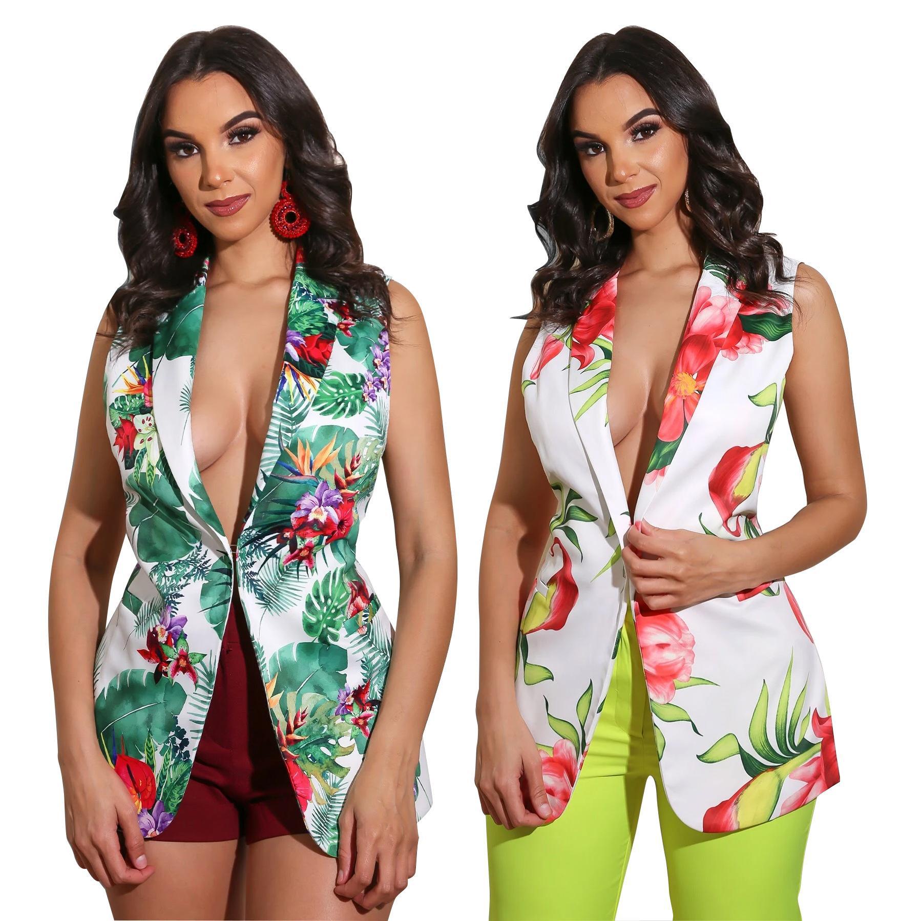 Женщины Цветочного Printed Vest куртка офис дама жилет без рукавов Blazer Outwear Elegant Верхней одежда Пальто Вверх