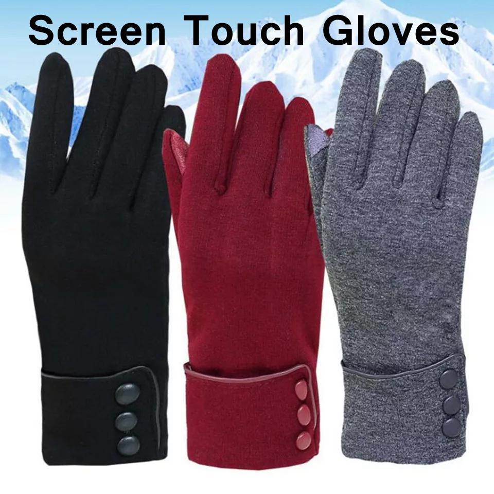 Guantes pantalla táctil de invierno Guantes calientes de las señoras completa Guantes de dedo de la manera de felpa muñeca del guante mitones sólido calentador de guantes YFA2449