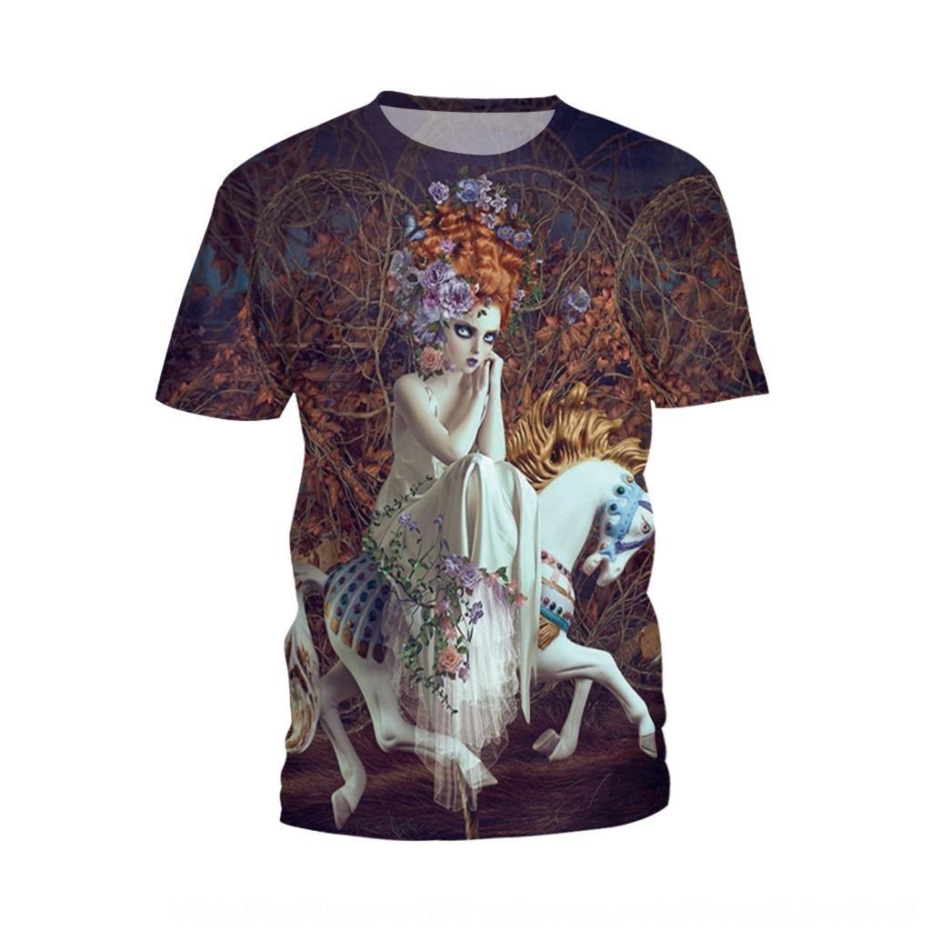 mpGuo verão nova imitação guerreiro menina bonita impressa Brasão T-shirt top de manga curta em torno do pescoço tamanho grande top T-shirt das mulheres