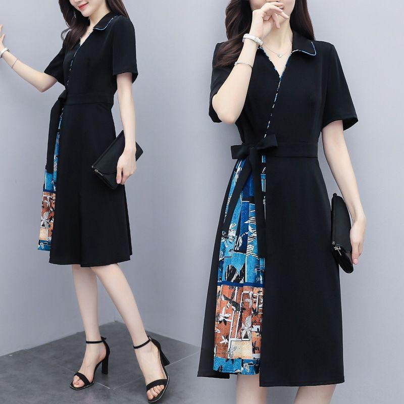 iw7Vp larga nuevo verano de las mujeres de cintura alta de la manga mujeres delgadas de vestir mitad de la longitud de la cintura color de costura contraste con cordones corta falda larga 2020 sk