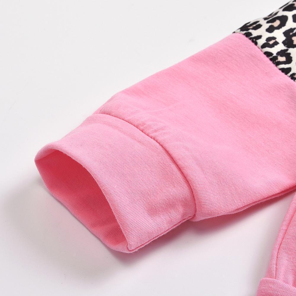 Novos 2020 Moda emenda outono Suits Leopard Bebés Meninas Sportswear 2pcs Define algodão Crianças soltas Roupas Sport 1-5 anos