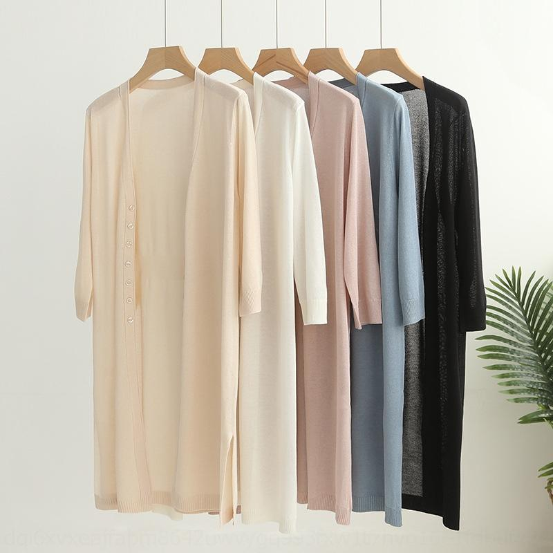 ooFzq mid-len Ice solid conditioning Silk thin summer breathable sun-proof air-conditioned shirt 2020 spring and light air color long sleeve