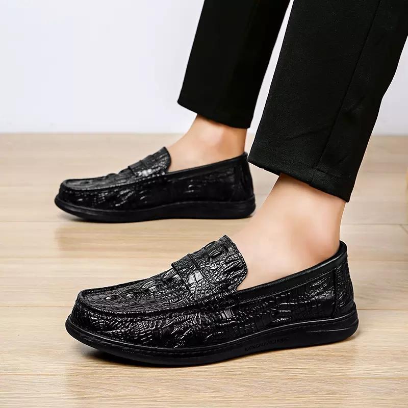 Homens Loafer Fahsion deslizamento Projetado Crocodile Skin On Masculino Shoe Casual PU de couro à prova d'água Tamanho Big formais Shoes Office Business