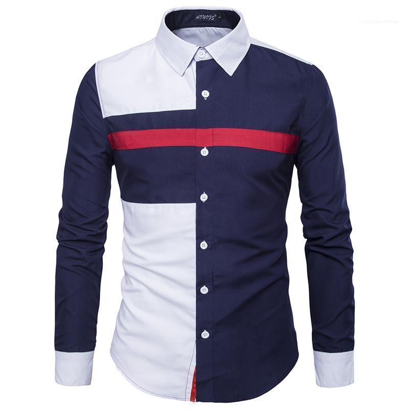 Sleeve Top di lusso del Mens Shirt Moda Panelelled uomini dimagriscono T casuali Designer maschile Lungo