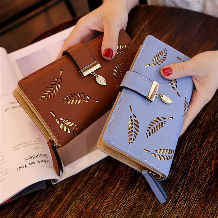 2020 Moda feminina carteira de couro da bolsa Feminino Longo Carteira deixa ocos Pouch Bolsa Para senhoras Coin Purse Clutch