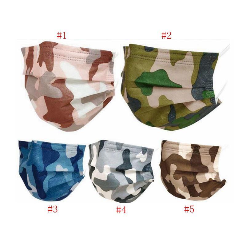 Elnih Face Camouflage IIA522 3-PLY Anti-Haze Raze Raze Raze Взрослый Дышащий одноразовые маски Стили Блокировка Маска для 5 Детских воздушных пыли Euaes