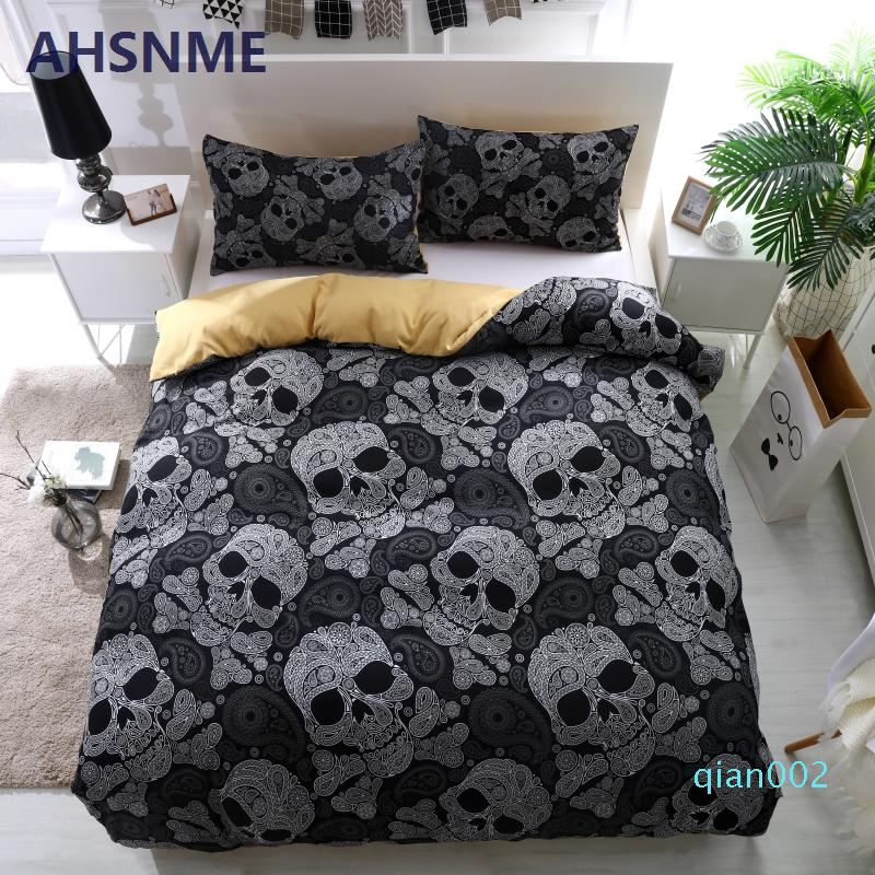 AHSNME Black Skull Duvet Cover Set Horrible Skeleton Bedding Set Breathable 3d Bedclothes Europe American Size King Twin