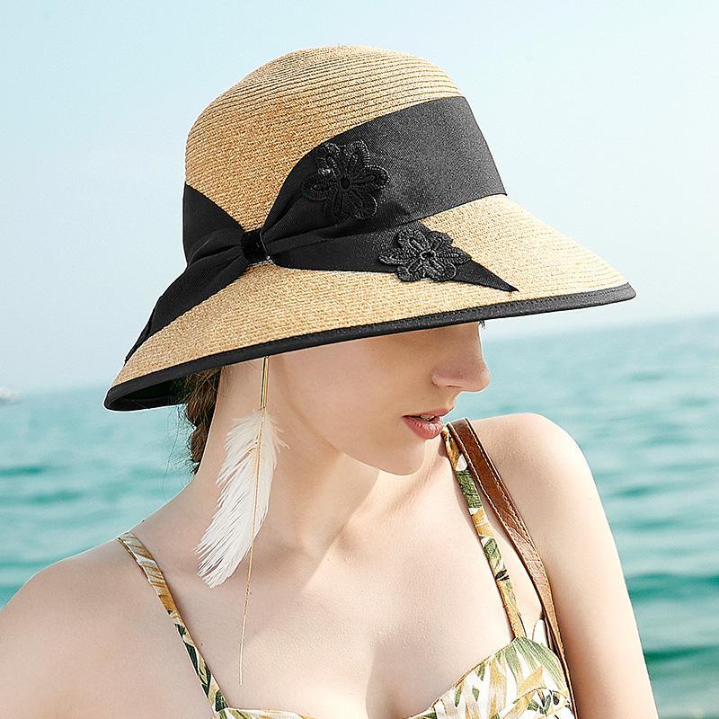 Sedancasesa летние шапки соломенная шляпа для женщин-Бич Casual Sun Шляпы Широкий Брим Козырьки Caps Складная соломенной шляпе с кружевом Bowknot