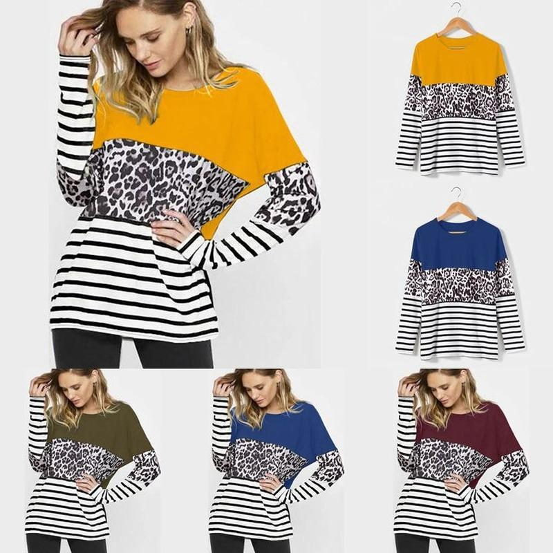 Garemay Plus Size Cotton Striped Leopard Bluse Frauen-beiläufige O-Ausschnitt von Bella Color Block Tunika Frauen Shirts Elegante