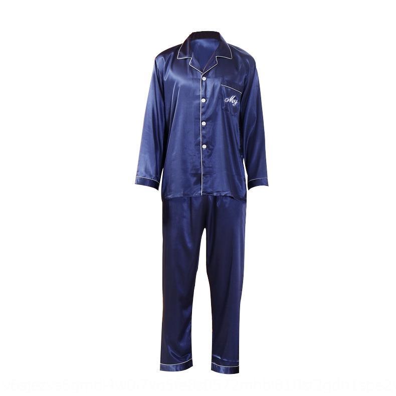 Ice-Pyjama für mittleres Alter und ältere Kleidung nach Hause nach Hause Seide plus plus Größe lose lange Hülsenklage nachgemachte Seide Vater dünnes Haushaltstuch