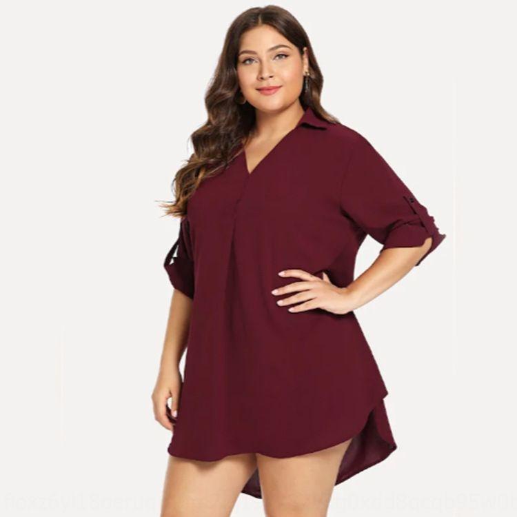 V-образный вырез 7-точка рукава потерять жир ММ всех соответствующую рубашек средней длина рубашка женщин размера больших для женщин SUpwU